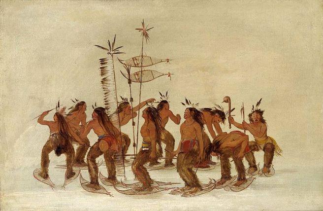 Catlin, George (1835): Plains Ojibwe performing a snowshoe dance (Cazadores Ojibwe haciendo la danza de las raquetas de nieve).
